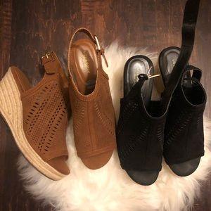 2 pairs of like new wedges.  1 in tan, 1 in black